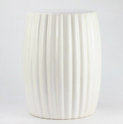 RYIR114-B_Matte white stripe pleated ceramic patio stool