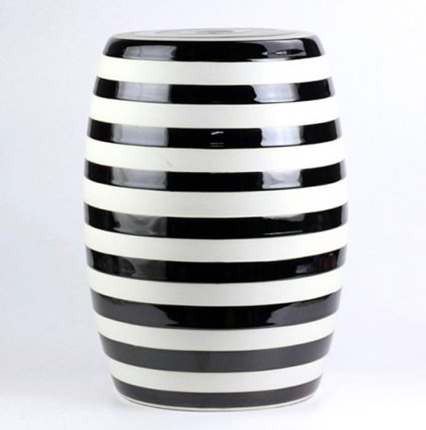 RYIR116_Black white stripe stool