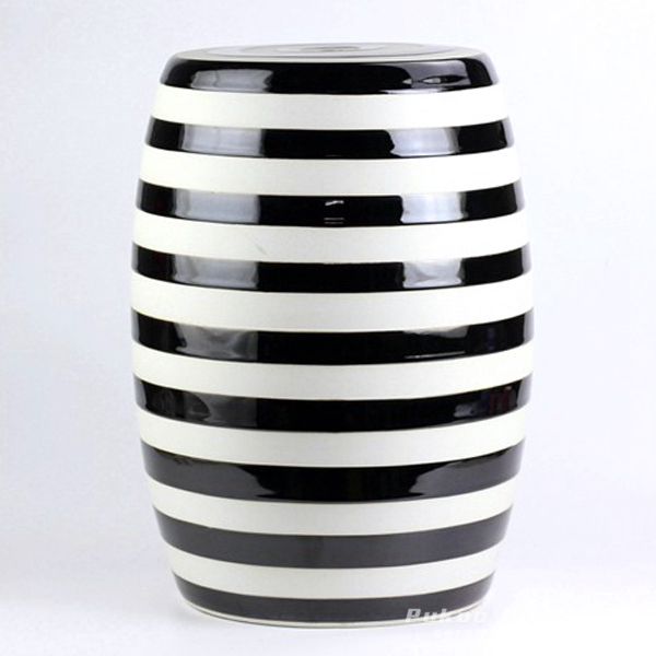 Black white stripe stool