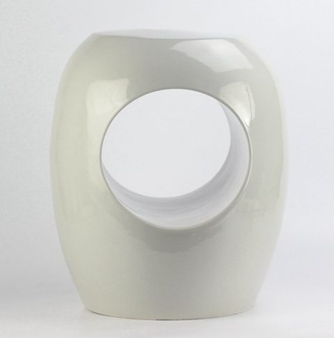 RYIR119_Plain color pure white hollow o-ring ceramic stool