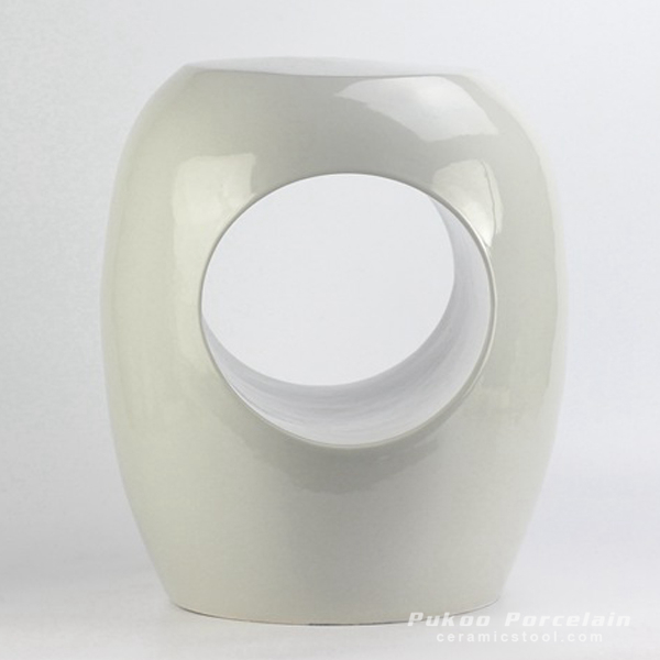 Plain color pure white hollow o-ring ceramic stool