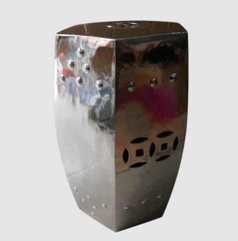 RYIR56_6 sides silver mirror glaze glossy ceramic lounge stool