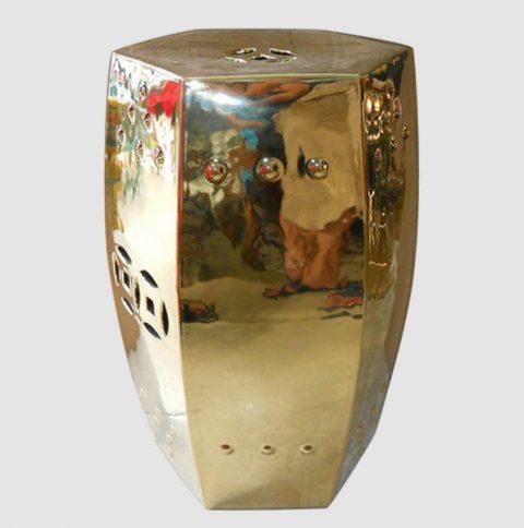 RYIR57_Hexagon golden Ceramic Garden Stool