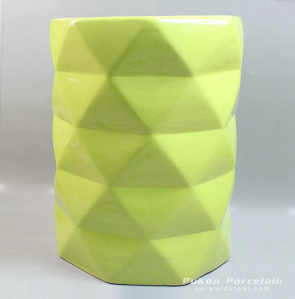 Verdancy green ceramic diamond stool