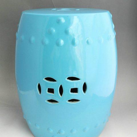 RYIR91_Plain color glazed blue ceramic stool