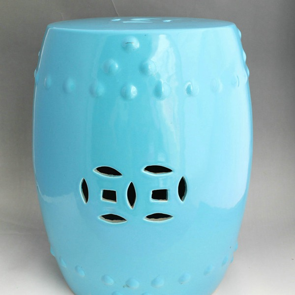 Plain color glazed blue ceramic stool