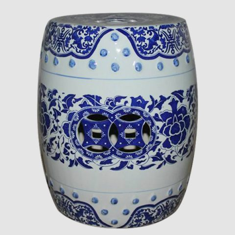 RYIR95_Blue and White Ceramic Decorative Stool