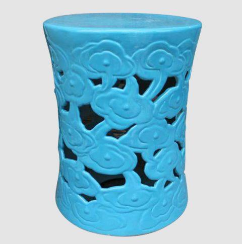 RYIR97_Garden ideas Blue Ceramic Cloud Stool