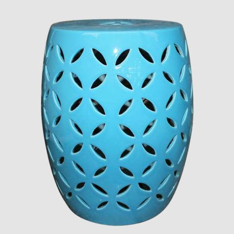 RYIR98_Blue rattan furniture Ceramic carved Stool