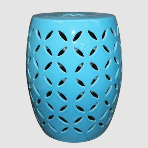 RYIR98_Blue rattan furniture Ceramic carved Stool