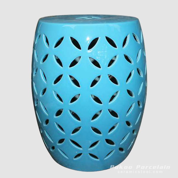Blue rattan furniture Ceramic carved Stool