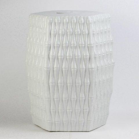 RYJF12_Bamboo weaving style pure white Jingdezhen porcelain stool