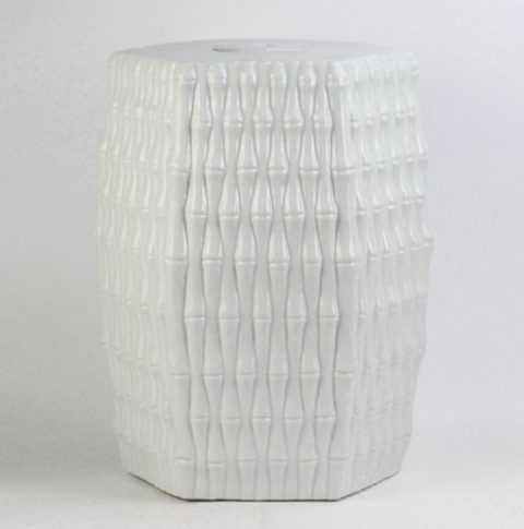 RYJF12_Bamboo weaving style pure white Jingdezhen porcelain stool