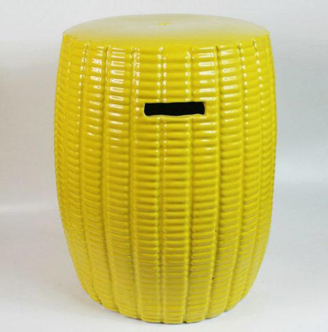 RYKB105_Yellow Ceramic Stool, high temperature fired