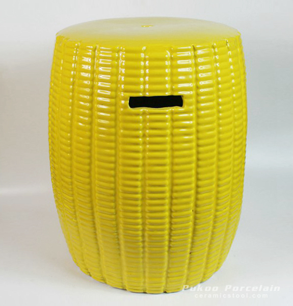 Yellow Ceramic Stool, high temperature fired