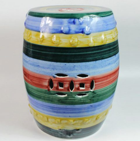 RYKB108_Ceramic Garden Stool, Stripe Design