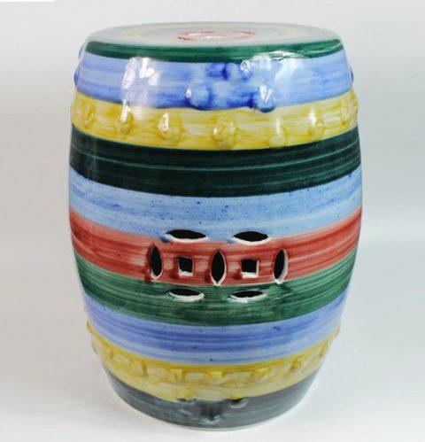 RYKB108_Ceramic Garden Stool, Stripe Design