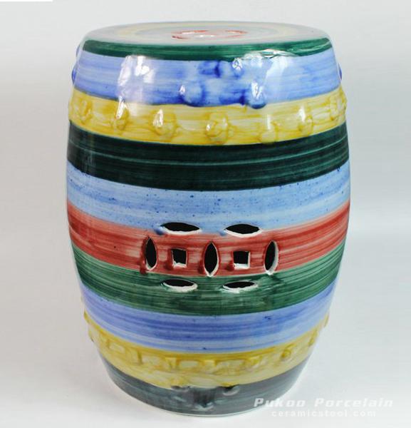 Ceramic Garden Stool, Stripe Design