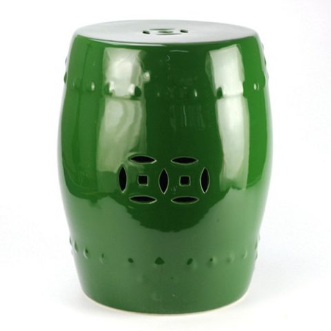 RYKB111-C_Plain color glazed green ceramic cheap stool