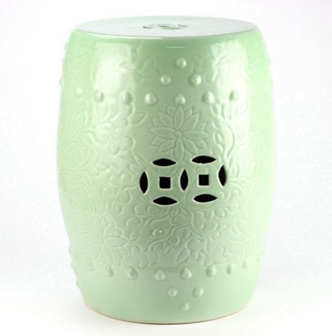 RYKB137-B_Solid color embossment green ceramic counter stool