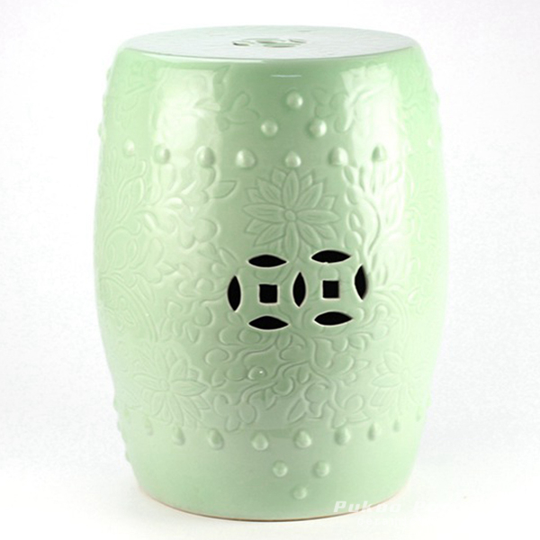 Solid color embossment green ceramic counter stool