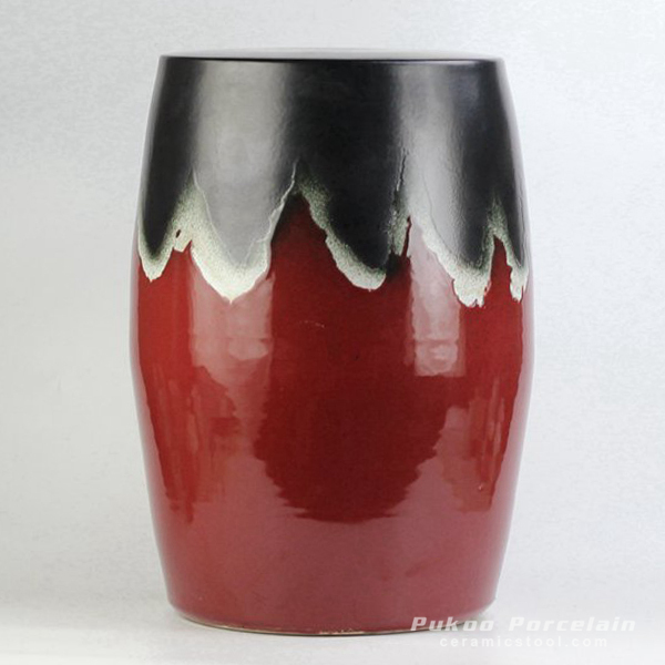 Joint black and red color glaze ceramic drum stool