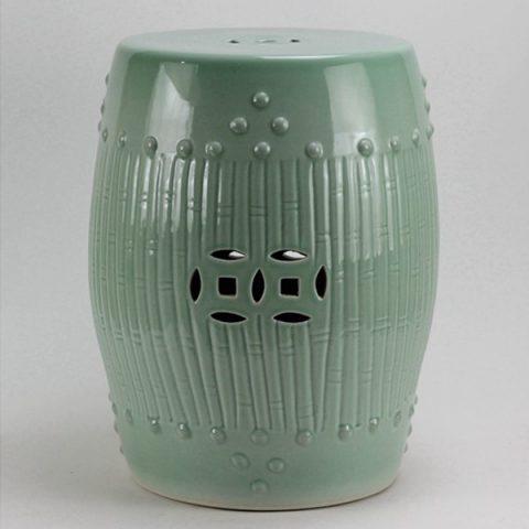 RYKB88-A_Celadon Bamboo design Ceramic Garden Stool