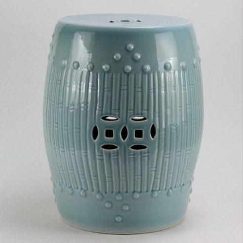 RYKB88-B_Celadon Bamboo design Ceramic Garden Stool