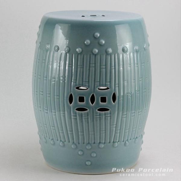 Celadon Bamboo design Ceramic Garden Stool