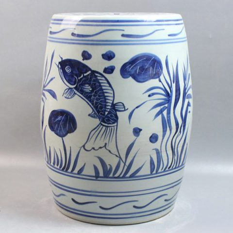 RYLL20_Blue and White Ceramic Gardeners Stool Fish design