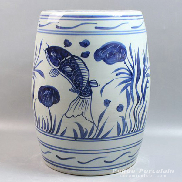 Blue and White Ceramic Gardeners Stool Fish design