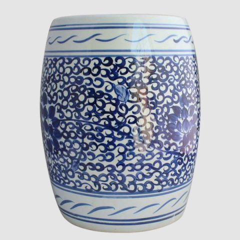 RYLL28_Hand paint blue and white floral chinaware barrel stool