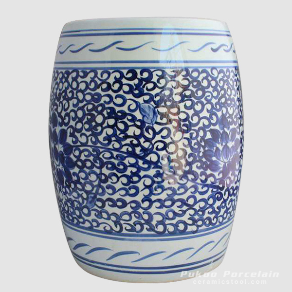Hand paint blue and white floral chinaware barrel stool