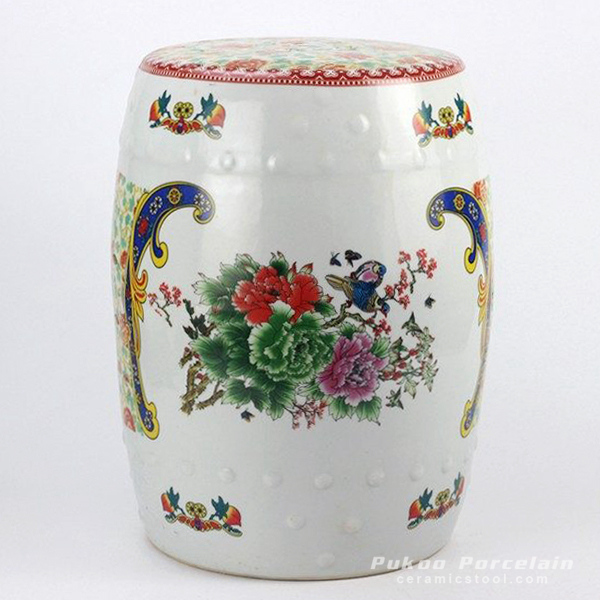 Colorful floral bird mark ceramic garden stool