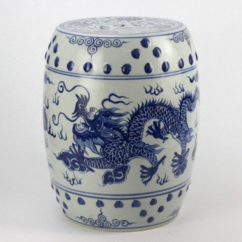 RYLL40_Hand paint Chinese dragon pattern blue white ceramic bathroom stool