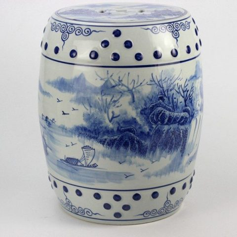RYLL41_Hand paint blue white skiff river bank pattern cermaic drum stool