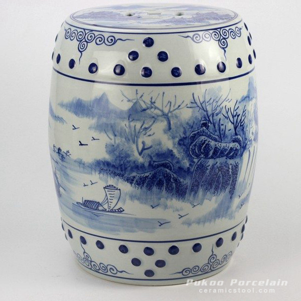 Hand paint blue white skiff river bank pattern cermaic drum stool