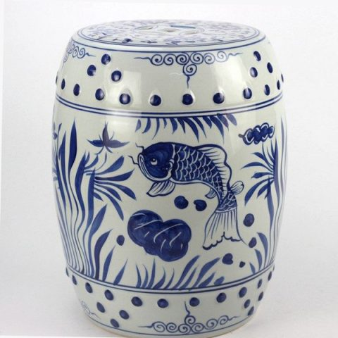 RYLL42_Hand paint fancy koi and water plant pattern blue white ceramic barrel stool