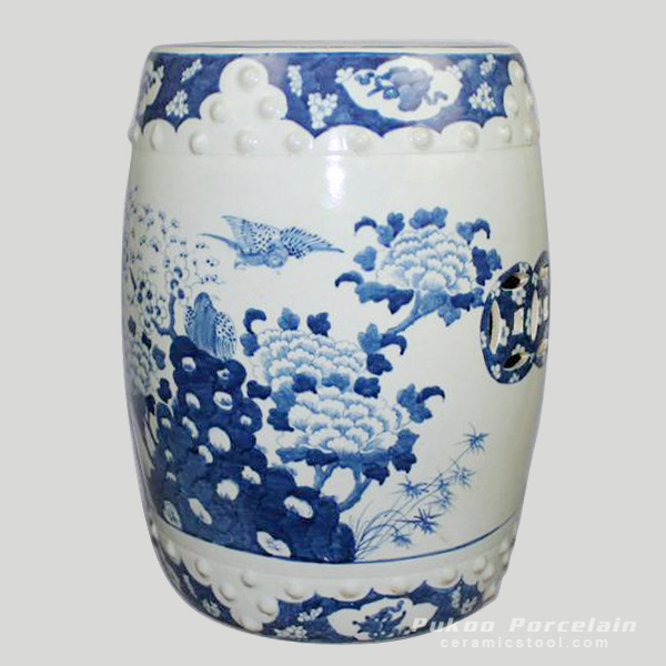 Blue and White paint flower bird Chinese garden stools