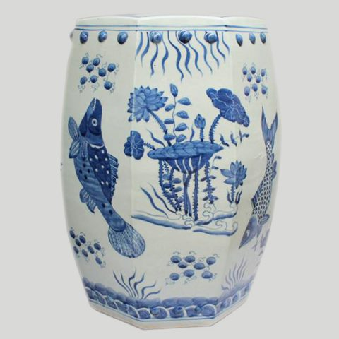 RYLU11_Blue and White Painted fish and flower Ceramic China Stool