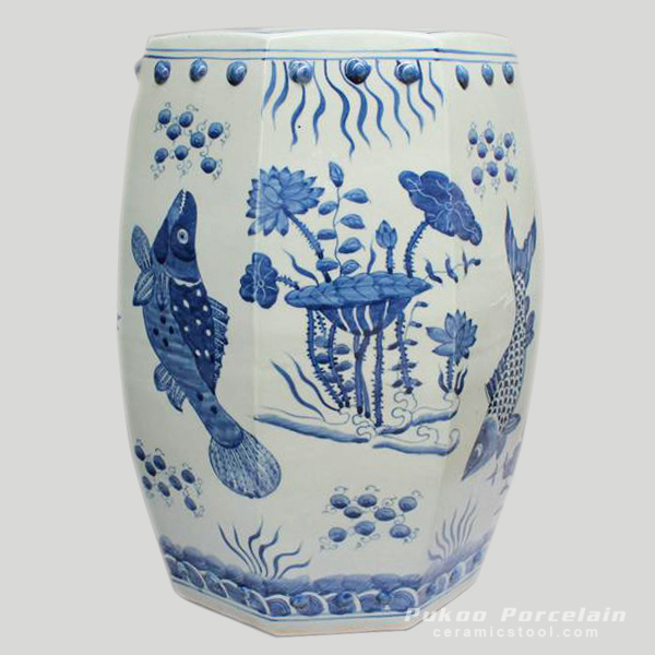 Blue and White Painted fish and flower Ceramic China Stool