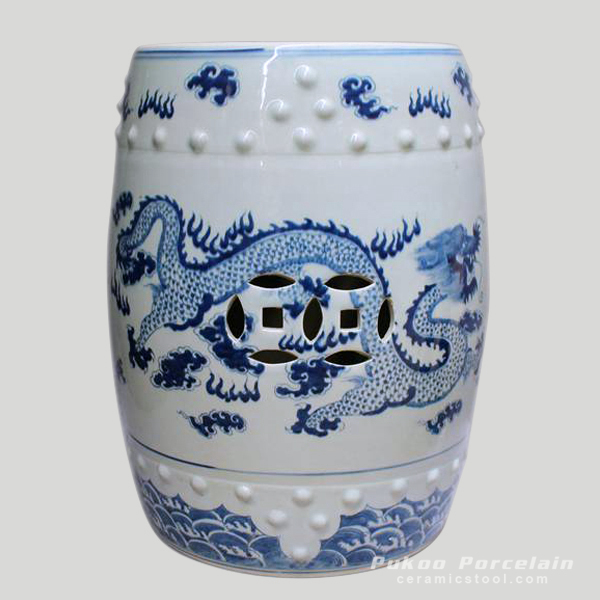 Chinese antique furniture Blue and White Painted dragon Ceramic Stool