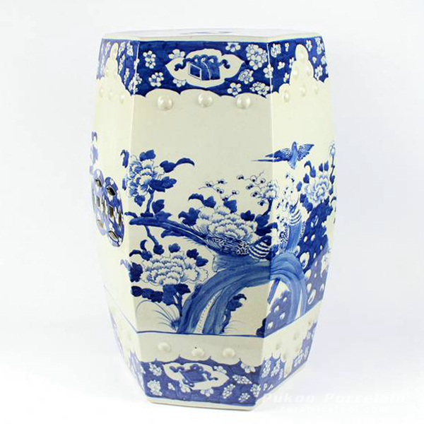Hexagonal blue and white ceramic garden embellishing seat