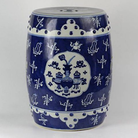 RYLU15_Wholesale hand painted eight treasure design white and blue Ceramic Seat