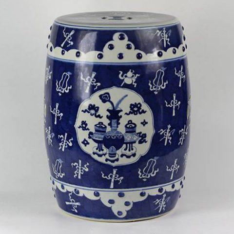 RYLU15_Wholesale hand painted eight treasure design white and blue Ceramic Seat