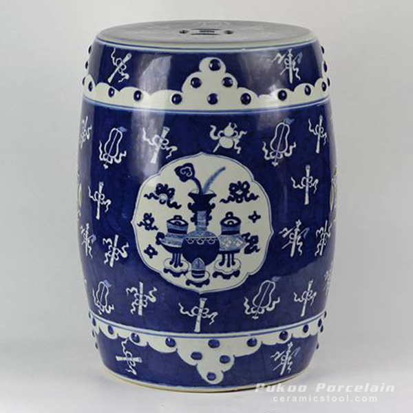 Wholesale hand painted eight treasure design white and blue Ceramic Seat