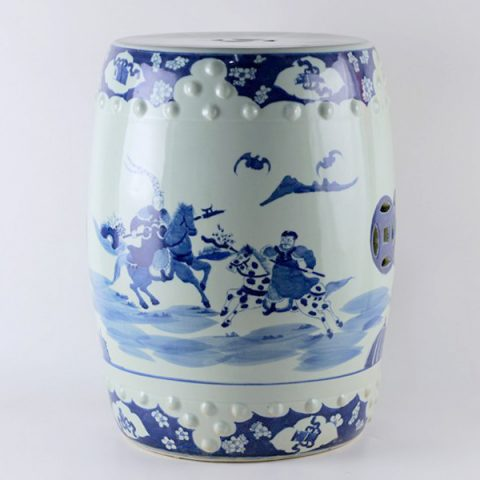RYLU16_Hand painted garden blue and white stools man riding horses
