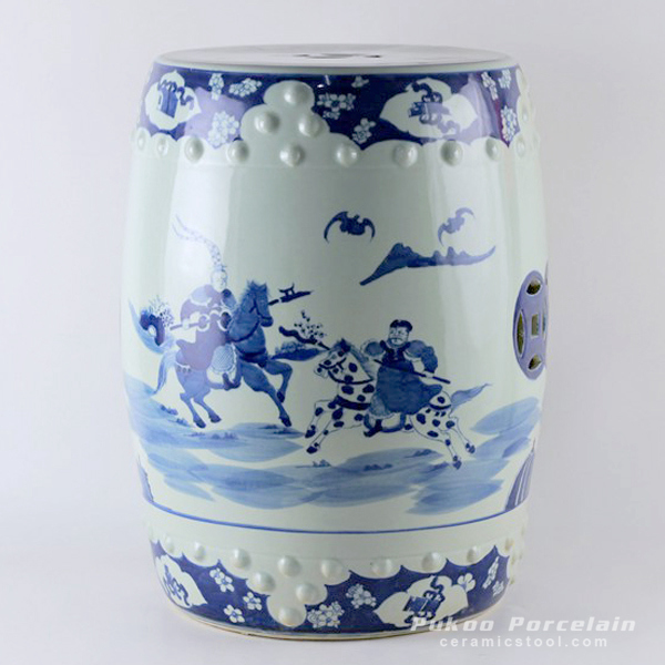 Hand painted garden blue and white stools man riding horses