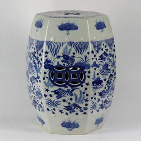 RYLU17-B_Blue & White Fish Grass design Hexagon Ceramic Garden Stool