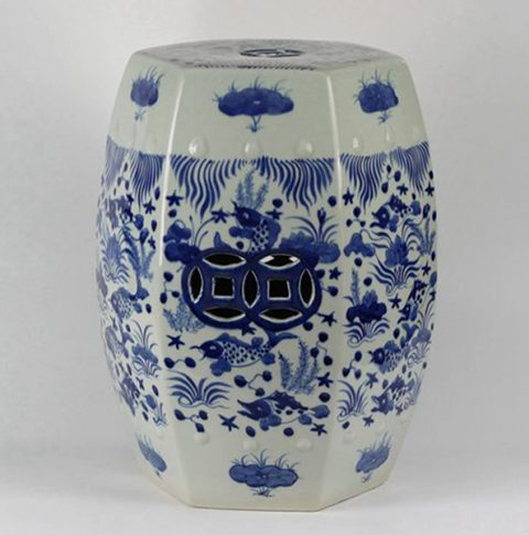 RYLU17-B_Blue & White Fish Grass design Hexagon Ceramic Garden Stool